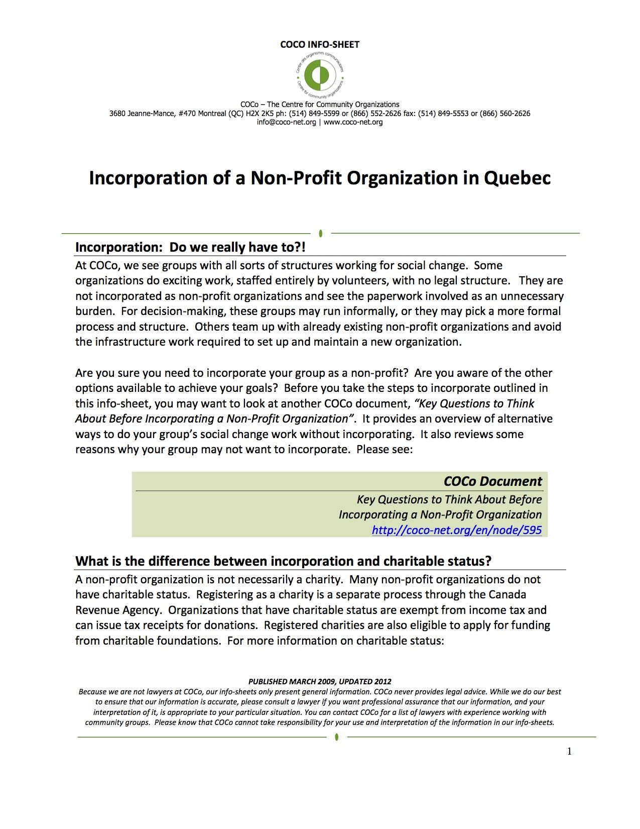 Incorporation of a Non-Profit Organization in Quebec - COCo