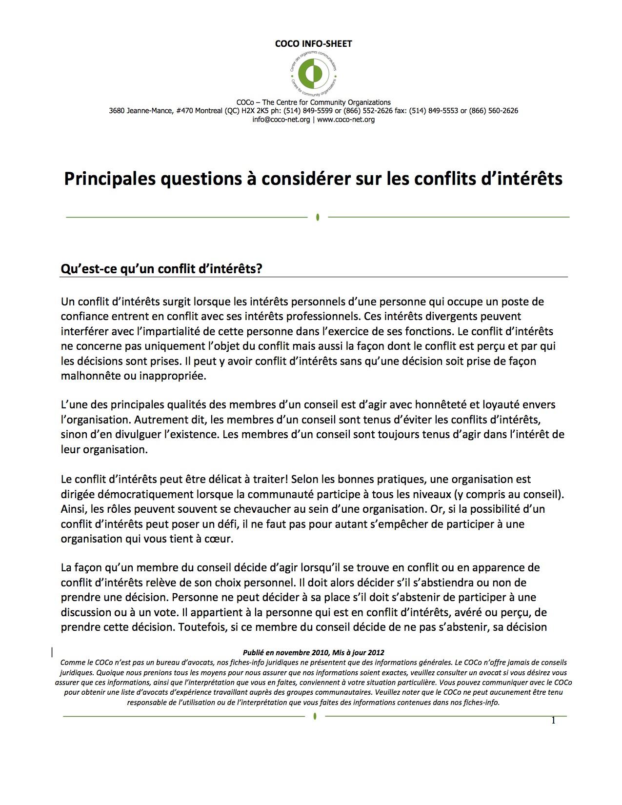 conflits d'intérêts-2012-FR
