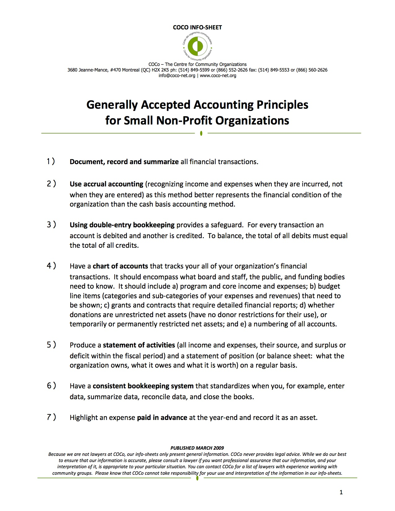 Generally Accepted Accounting Principles for Small Non