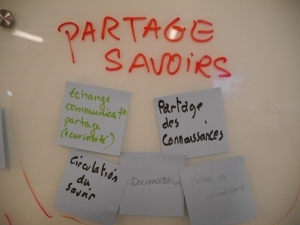decoratve; whiteboard that has partage savoirs written on it