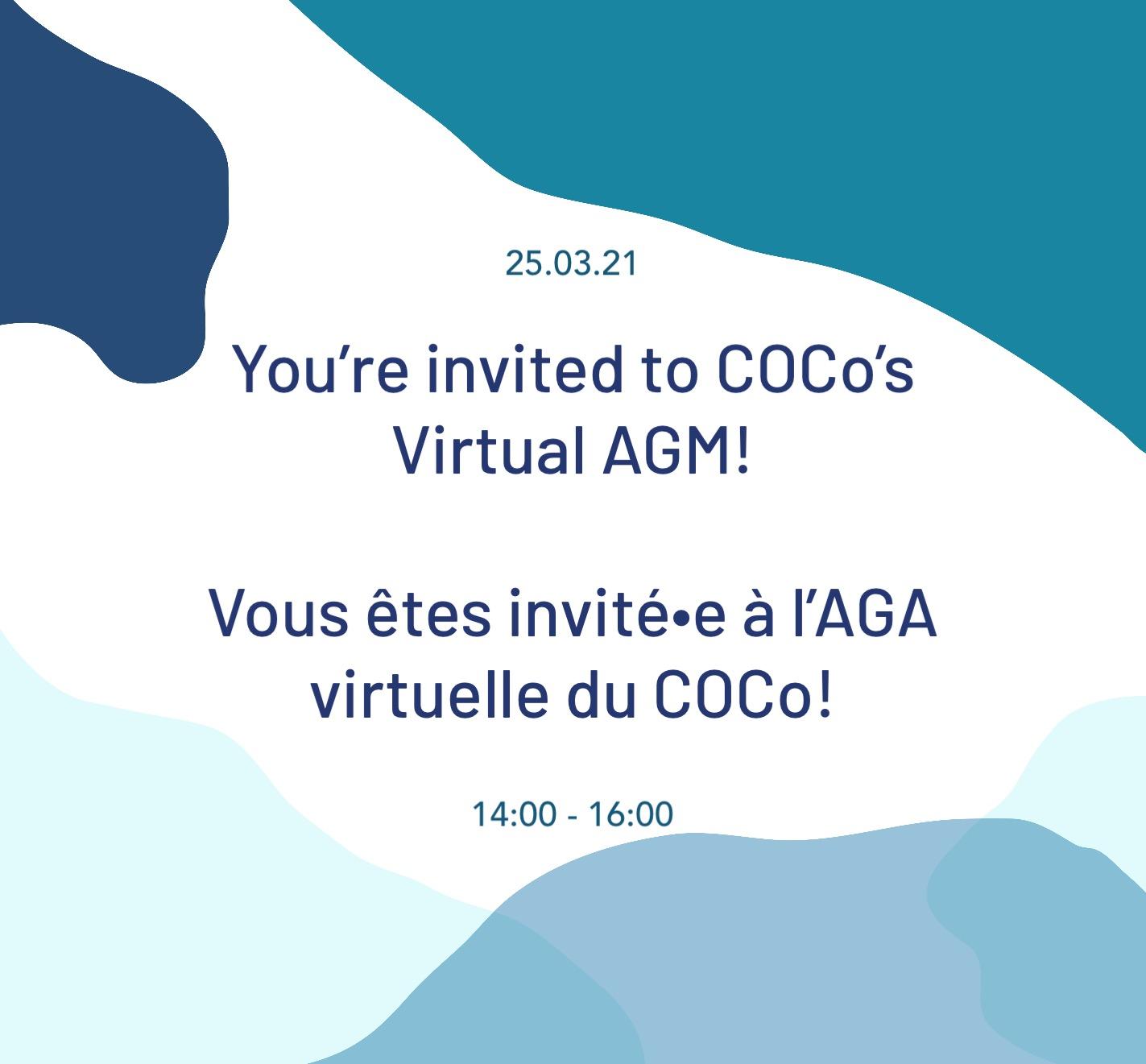 Vous êtes invité•e à notre AGA Virtuelle